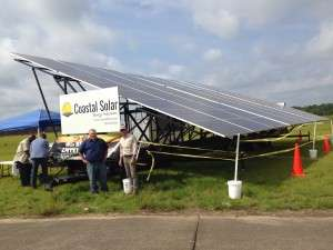 the mobile solar unit in the field